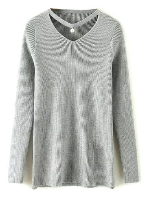 online Choker Ribbed Sweater - GRAY ONE SIZE Mobile