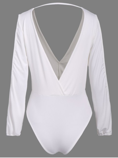 sale Ruched Split Sleeve Bodysuit - WHITE L Mobile