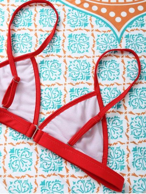 trendy Unlined Cami Bikini - RED L Mobile