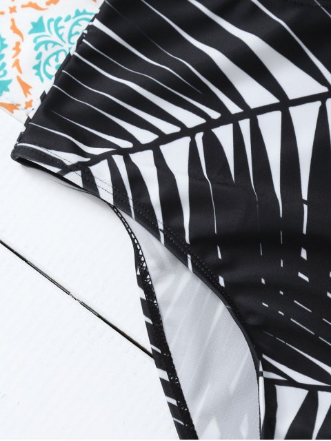 ladies Leaf Print Low Cut Swimwear - WHITE L Mobile