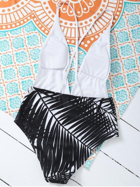 best Leaf Print Low Cut Swimwear - WHITE S Mobile