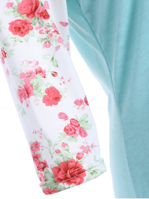 fancy Loose Floral Tee with Pocket - GREEN L Mobile