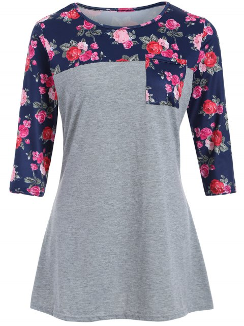 buy Loose Floral Tee - GRAY L Mobile