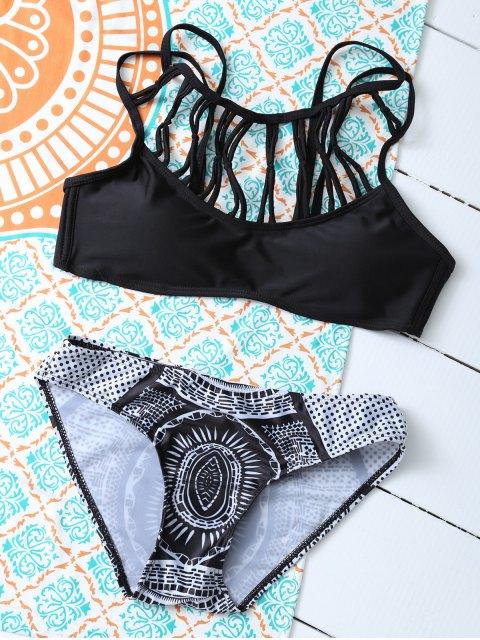 shop Strappy Printed Cut Out Bikini Set - BLACK M Mobile