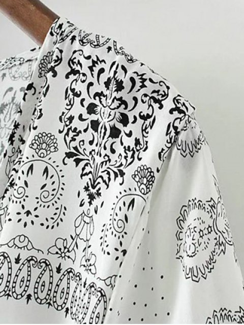womens Retro Print Collarless Wrap Duster Coat - WHITE AND BLACK S Mobile