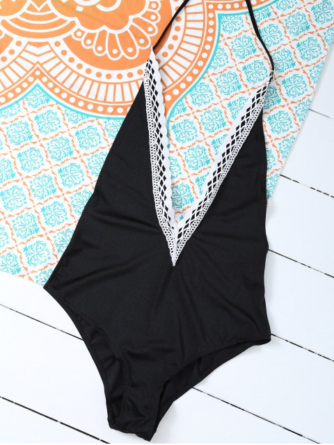 unique Backless Plunge Neck Lacework Swimwear - BLACK 2XL Mobile