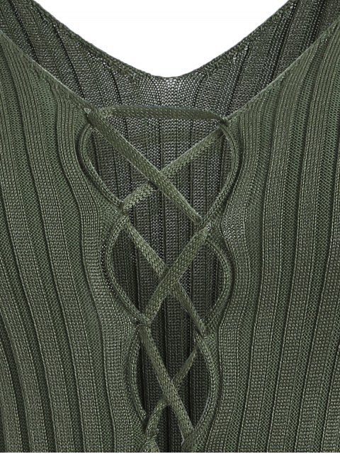 sale Ribbed Deep V Neck Jumper - GREEN ONE SIZE Mobile