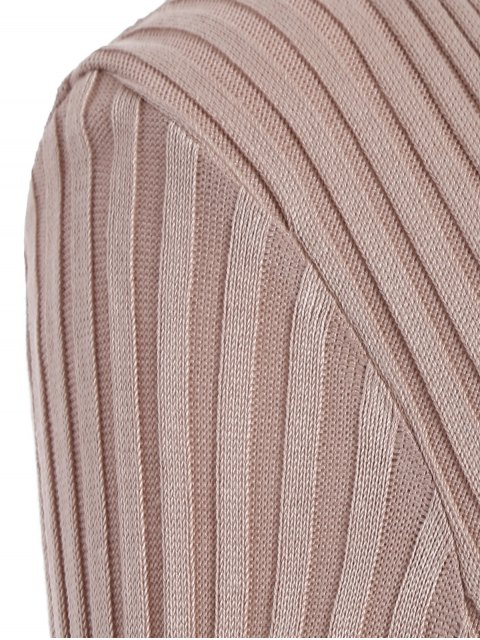 affordable Ribbed Deep V Neck Jumper - APRICOT ONE SIZE Mobile