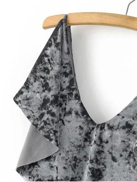 womens Velvet Self Tie Ruffles Top - GRAY S Mobile
