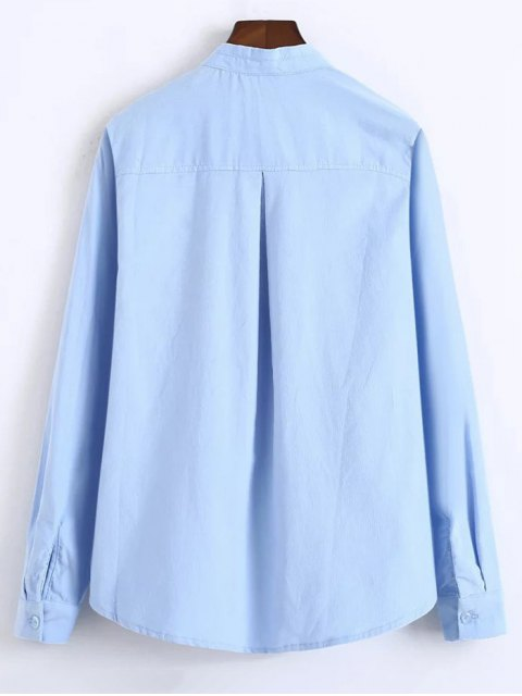 outfit Patched Bowknot Embroidered Shirts - BLUE S Mobile