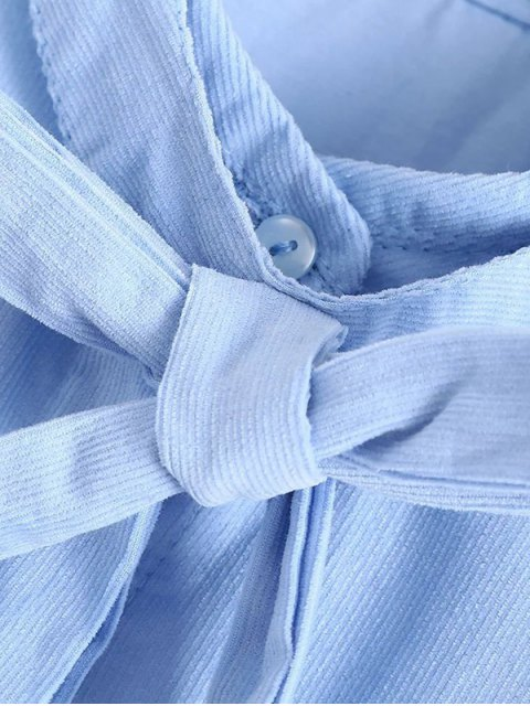hot Patched Bowknot Embroidered Shirts - BLUE M Mobile
