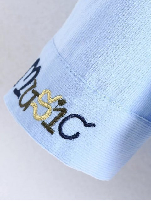 new Patched Bowknot Embroidered Shirts - BLUE L Mobile