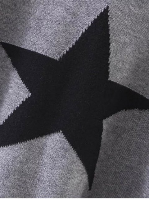 hot Hooded Star Graphic Sweater - RED ONE SIZE Mobile