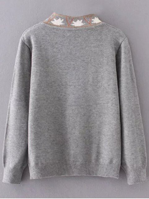 outfit High Neck Graphic Sweater - GRAY ONE SIZE Mobile