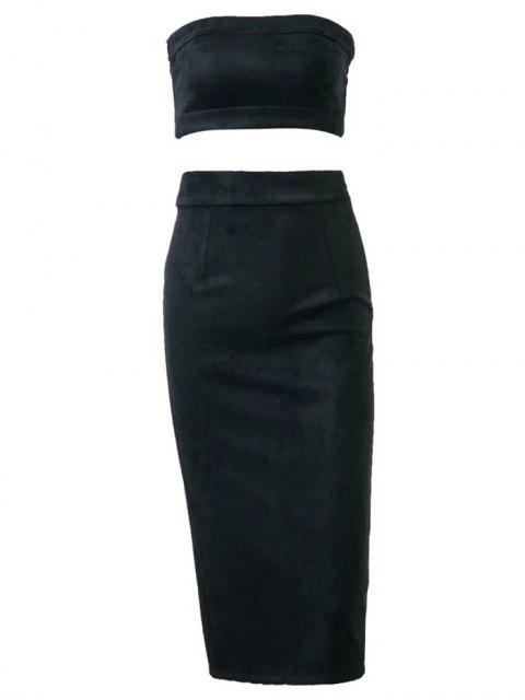 shop Suede Bodycon Skirt with Tube Top - BLACK L Mobile