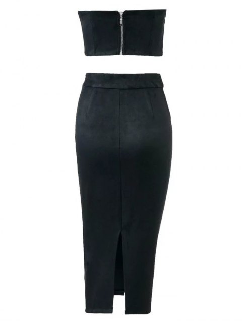 sale Suede Bodycon Skirt with Tube Top - BLACK M Mobile