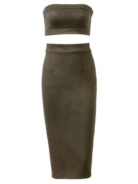 hot Suede Bodycon Skirt with Tube Top - ARMY GREEN L Mobile