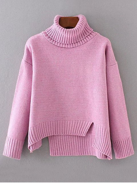 latest Side Slit Asymmetric Sweater - PINK ONE SIZE Mobile