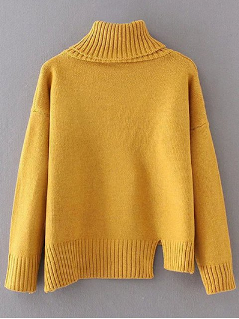 trendy Side Slit Asymmetric Sweater - YELLOW ONE SIZE Mobile