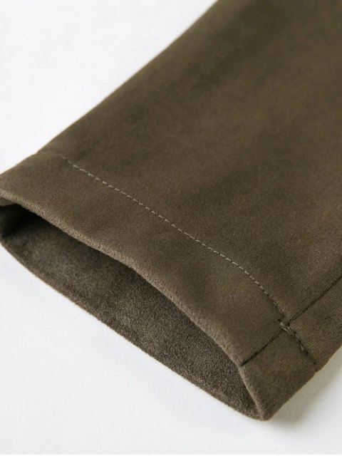 new High Rise Suede Pants with Tube Top - GRAY L Mobile