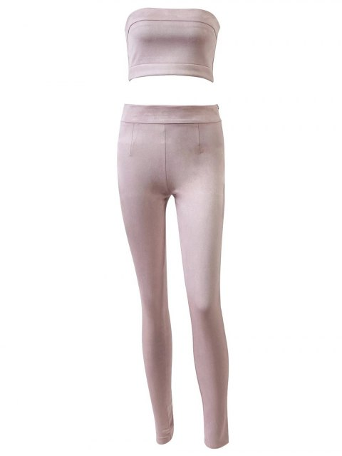 latest High Rise Suede Pants with Tube Top - PINK L Mobile