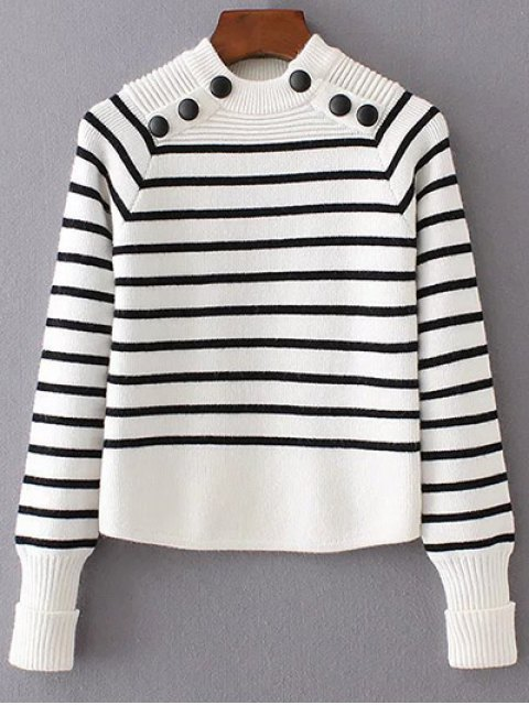 affordable Striped Mock Neck Sweater - WHITE S Mobile