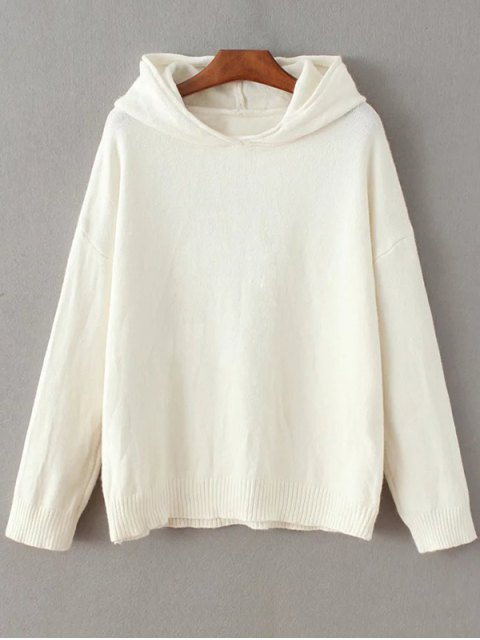 affordable Long Sleeve Hoodie Sweater - WHITE ONE SIZE Mobile