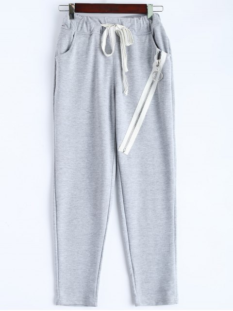 lady Zip Design Drawstring Sweatpants - LIGHT GRAY L Mobile