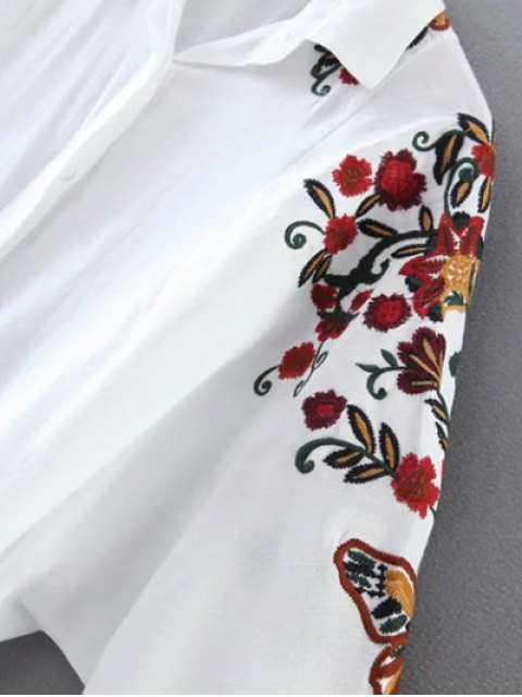 online Cropped Flower Embroidered Shirt - WHITE L Mobile