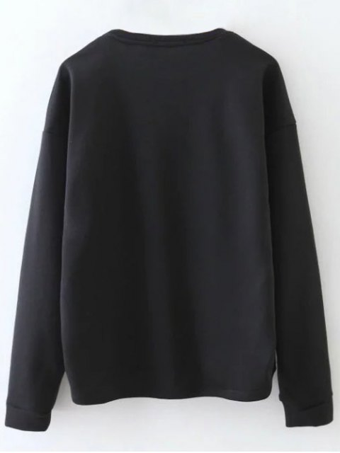 buy Tiny Flower Embroidered Sweatshirt - BLACK S Mobile
