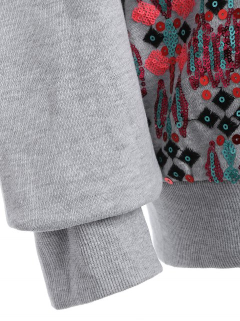best Embroidered Sequined Sweatshirt - GRAY M Mobile