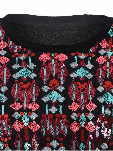 online Embroidered Sequined Sweatshirt - BLACK L Mobile