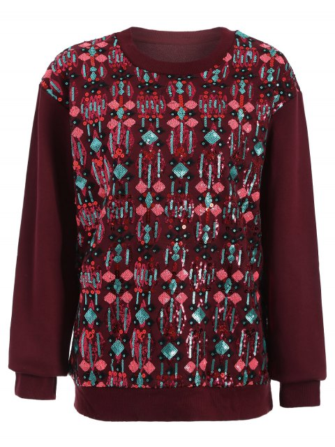 outfit Embroidered Sequined Sweatshirt - WINE RED M Mobile