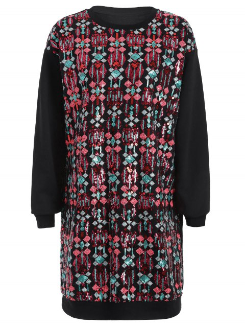 women's Embroidered Sequined Long Sleeve Dress - BLACK M Mobile