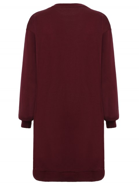 lady Embroidered Sequined Long Sleeve Dress - WINE RED M Mobile