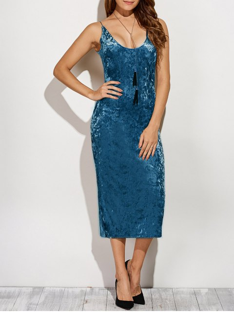 outfits Back Slit Velvet Cami Pencil Dress - BLUE S Mobile