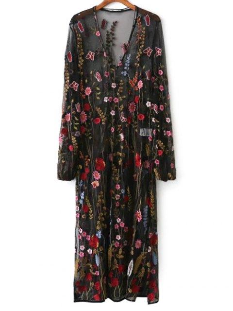 shop Mesh Floral Embroidered Sheer Dress - BLACK S Mobile