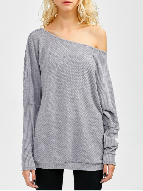 new Asymmetric Neckline Batwing Sweater - GRAY XL Mobile