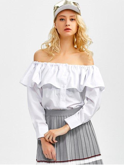 online Frilled Off The Shoulder Blouse - WHITE S Mobile