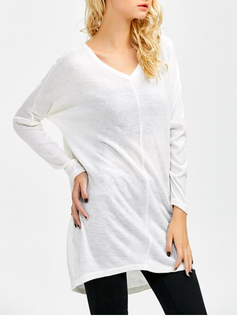 affordable V Neck Batwing Sleeve Sweater - WHITE S Mobile
