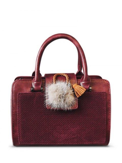 chic Pompon Suede Panel Handbag - RED  Mobile
