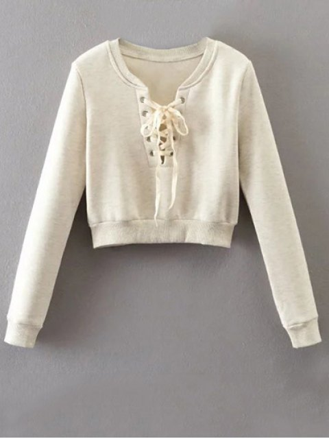 affordable Lace Up Cropped Pullover Sweatshirt - OFF-WHITE S Mobile