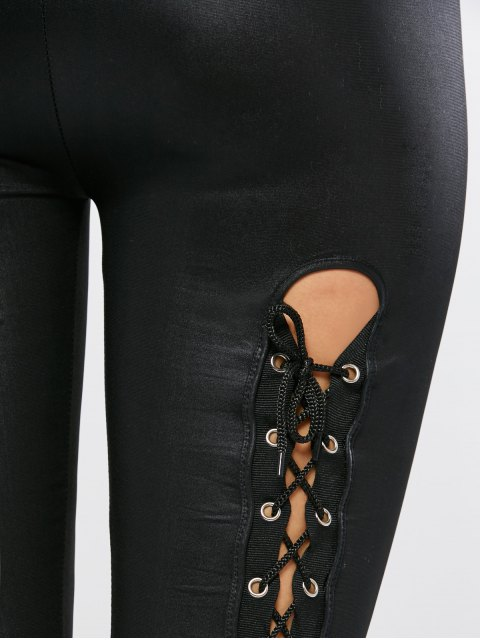 chic Lace Up Faux Leather Leggings - BLACK ONE SIZE Mobile