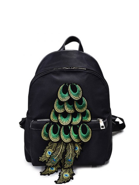 latest Peacock Feather Appliques Backpack -   Mobile