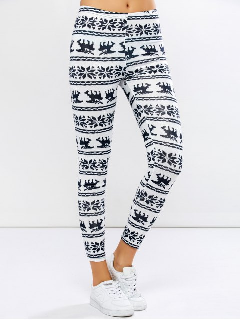 fancy Christmas Elk Graphic Leggings - WHITE XL Mobile