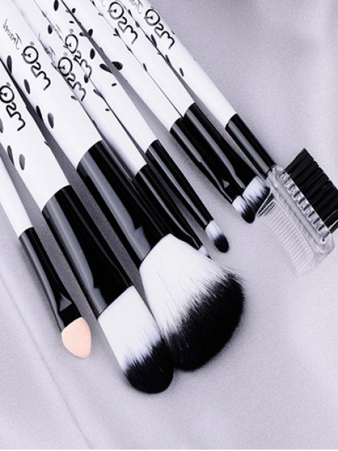 best 8 Pcs Daily Cow Print Makeup Brushes Kit - WHITE  Mobile