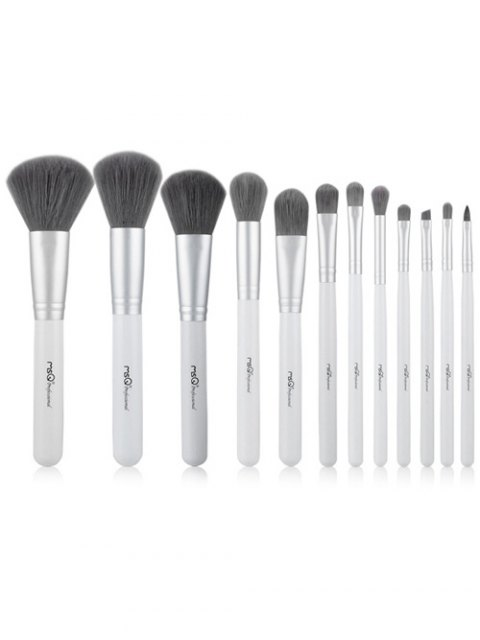 online 12 Pcs Fiber Makeup Brushes Kit - WHITE  Mobile