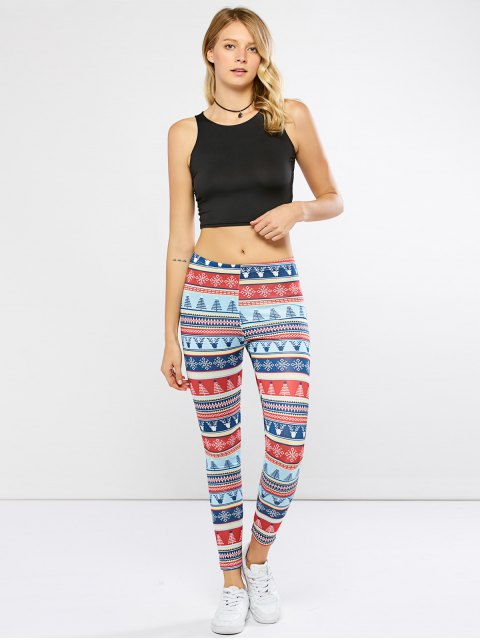 unique Stretchy Christmas Ornate Print Leggings - COLORMIX XL Mobile