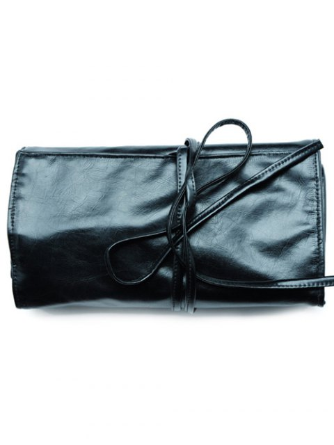 women Travel Faux Leather Makeup Brush Storage Bag - BLACK  Mobile