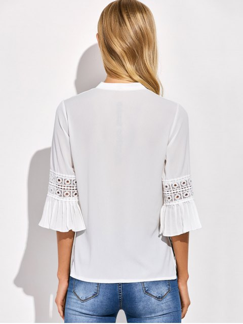 fancy Bowknot Flare Sleeve Blouse - WHITE ONE SIZE Mobile